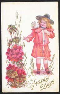 Happy Days Girl In Red Coat & Flowers Unused c1910s