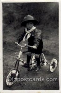 Chidren on Bicycles, tricycles postcard postcards Unused