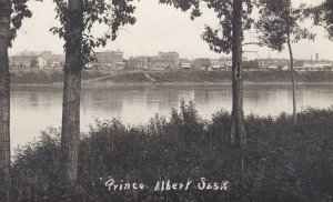 RP; PRINCE ALBERT, Saskatchewan, Canada, 1900-1910s; View of City across the ...