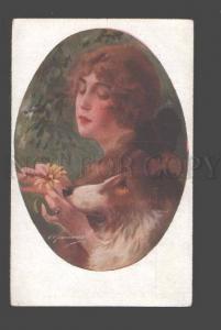 3090561 BELLE Girl w/ COLLIE Dog Vintage ART DECO Italian PC