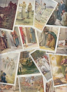 Set 22 early Scholar`s Lesson biblical picture story trade cards 8x11cm