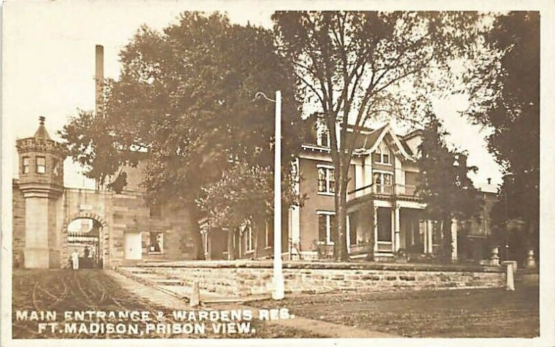 Fort Madison IA Main Entrance & Wardens Residence Prison View RPPC