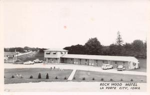 La Porte City IA Rock Wood Motel~50s Station Wagon~Lawnchairs~Pickup Truck RPPC