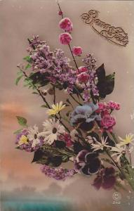 RP; Hand-colored, Bonne Fete, Bouquet of wild flowers,  00-10s