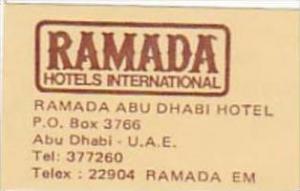 ABA DHABI RAMADA HOTEL VINTAGE LUGGAGE LABEL