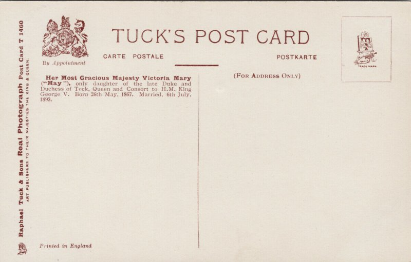 Her Majesty Queen Mary British Royalty Tuck Unused Postcard G67
