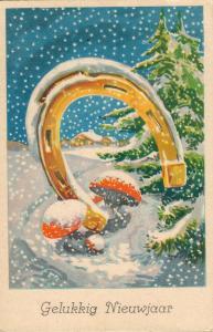 Happy New Year Vintage Snow Postcard 01.60