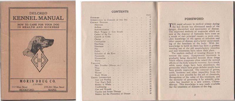 Biddeford, ME, Morin Drug, Delcreo Kennel Manual  1925
