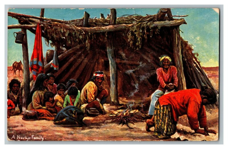 A Navajo Family North American Indian Series No. 5431 Vtg Standard View Postcard