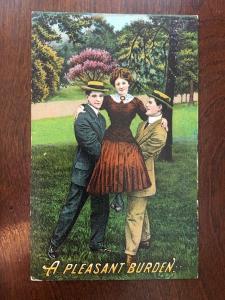 A Pleasant Burden Turn Century Fashion Men Holding Up A Woman