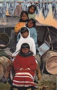 Alaska Eskimo Children With Drying Fish