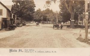 East Jaffrey New Hampshire~Main Street~Horse & Buggy~Boy on Steps~1908 RPPC