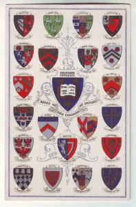 P958 vintage card arms of the college of oxford university