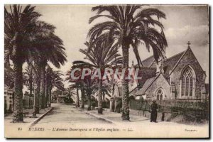 Old Postcard Hyeres les Palmiers Avenue Beauregard and Anglican church