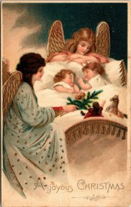 Joyous Christmas - Angels - Children - Vintage - POSTCARD PC POSTED