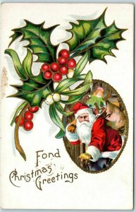 Vintage SANTA CLAUS Embossed Postcard Fond Christmas Greetings c1910s