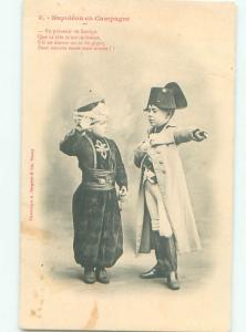 foreign Old Postcard CHILD DRESSED AS NAPOLEON KING OF FRANCE AC3086