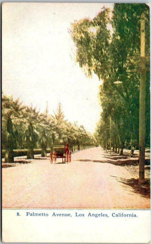 Los Angeles, California Postcard Palmetto Avenue Horse Carriage Scene c1920s