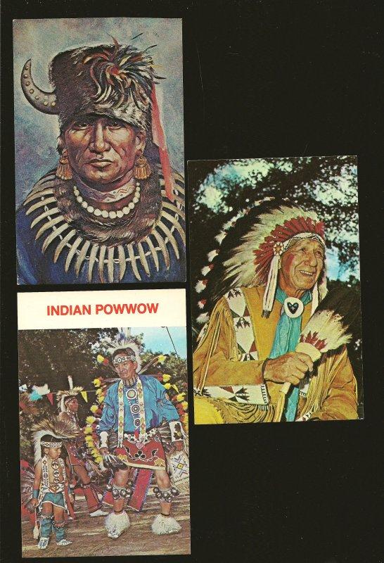 Lot of 3 1970's Nebraska Native Americans in Dress Postcards Unposted