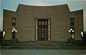 Brooklyn New York~Central Public Library @ Night~1950s-1970s Chrome Postcard