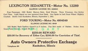 1921 Kankakee IL PC Advertising Stolen Ford & Reward Offer