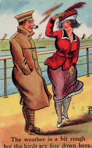 Captain Of Military Ship Birds Antique Courting Sailor Comic WW1 Postcard