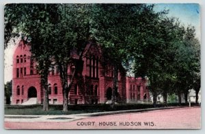 Hudson Wisconsin~St Croix County Courthouse~Lots of Trees in Front~1909