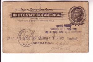 Postal Stationery Jefferson 1C,  RE Becker, Cincinnati, Canadian Furniture Ma...