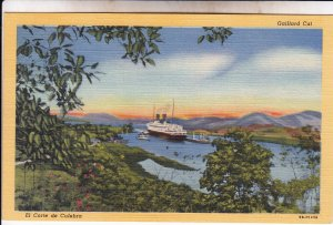 P1914 vintage postcard view ship locks gaillard cut el corte de culebra unused
