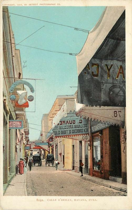 c1904 Postcard Havana Cuba Calle O'Reilly Street Scene Detroit Photographic Co.