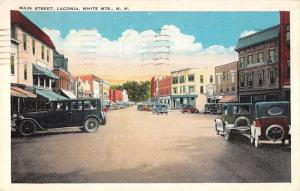 White Mountains New Hampshire Main Street Scene Laconia Antique Postcard K27147