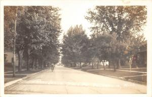 Deckerville Michigan~Residence Street~Man on Bicycle~Lots of Trees~1940s RPPC