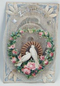 Rare 1800's Bridal Embossed Envelope Net Lace Dresden Doves Roses Heart