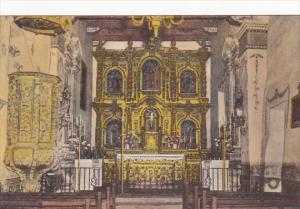 Old Church and Altar Old Mission San Juan Capistrano California Handcolored A...