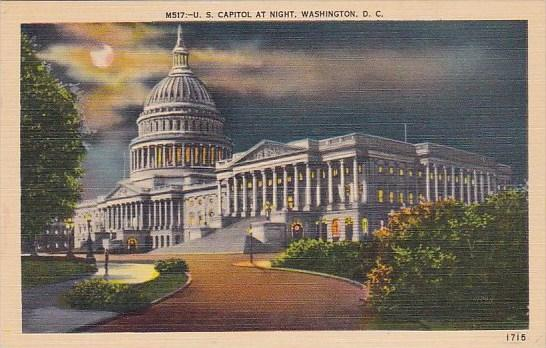 U S Capitol At Night Washington D C