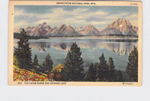 VINTAGE POSTCARD NATIONAL STATE PARK GRAND TETON RANGE AND JACKSON LAKE #2