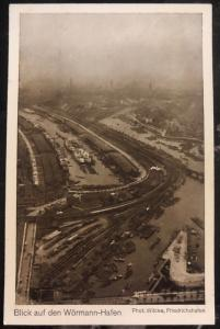 Mint Germany RPPC Postcard Wormann Hafen View From Zeppelin airship