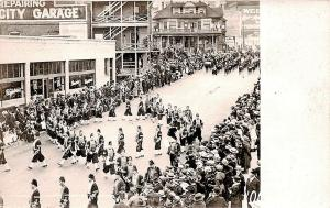 Portland OR Derrick's Cafeteria Parade Street Flags RPPC Real Photo Postcard
