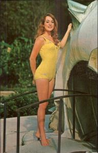 Weeki Wachee Bathing Beauty in Yellow Postcard