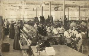 Women Work Labor Factory Workers Textiles Machinery c1910 RPPC Postcard
