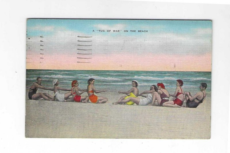 Vtg 1940's A Tug of War On The Beach Women Bathing Suits 194...
