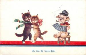 Animals caricatures humanized dancing cats harmonica music pipe smocker dog