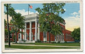 Post Office Painesville Ohio 1940s linen postcard
