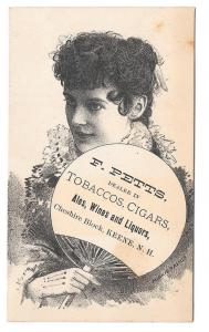 Victorian Trade Card Keene NH F Petts Tobacco Cigars Actress Minnie Palmer