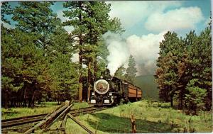 McNARY, AZ Arizona  White Mountain SCENIC RAILROAD  Steam Train  c1950s Postcard