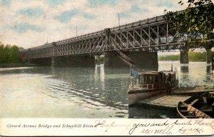 Pennsylvania Philadelphia Girard Avenue Bridge and Schuykill River 1907