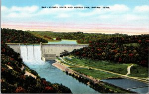 US Tennessee Norris Clinch River and Norris Dam Postcard used 1940
