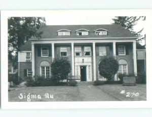 Pre-1950 rppc UNIVERSITY OF OREGON SIGMA NU FRATERNITY HOUSE Eugene OR W0258