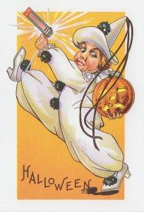 Halloween Pierrot Clown With Water Pistol Gun Greetings Postcard
