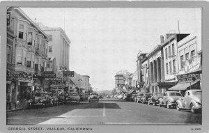 Georgia Street Cars Vallejo California 1940s postcard